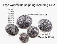 Black Designer buttons, Designer Metal  buttons. Free worldwide shipping (2) (3) (4) (5) (7) (8)